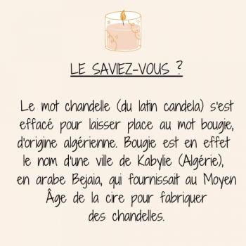 Le saviez vous le mot chandelle du latin candela s est efface pour laisser place au mot bougie d origine algerienne bougie est en effet le nom d une ville de kabylie algerie en ara
